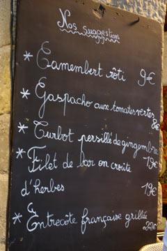 Menu Restaurant Au Four Saint Louis